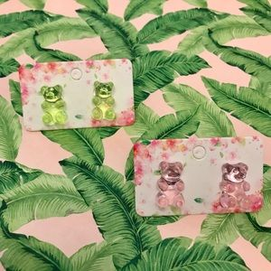 NWT Gummy Bear Earrings Set | Green + Pink